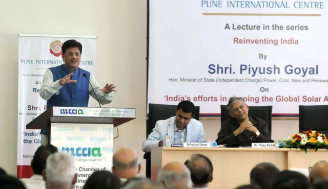 Minister of State (Independent Charge) for Power, Coal and New and Renewable Energy, Shri Piyush Goyal addressing at the Pune International Centre, in Pune on April 09, 2016.