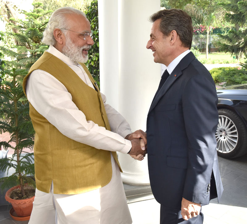 The former President of France, Mr. Nicolas Sarkozy calls on the Prime Minister, Shri Narendra Modi, in New Delhi on April 13, 2016.