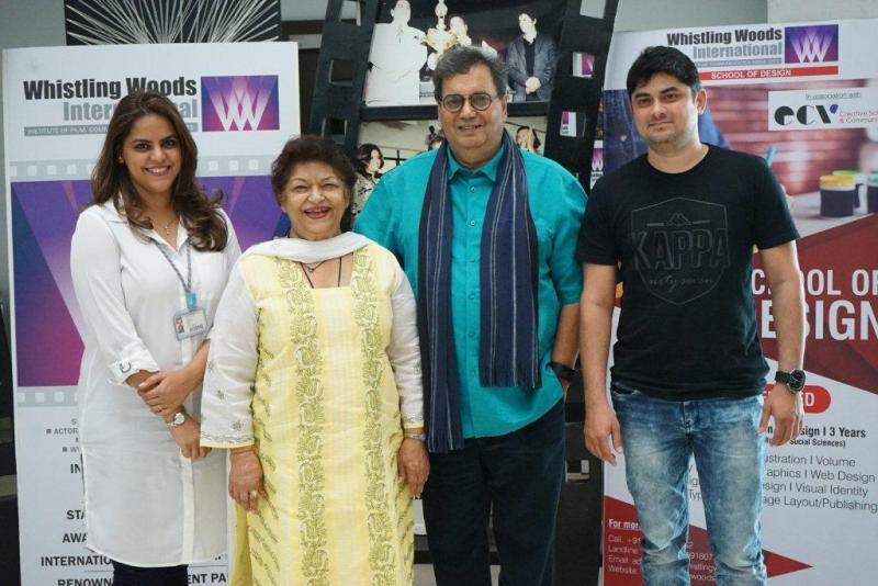 Left to Right Meghna Ghai Puri, Saroj Khan, Subhash Ghai, Whistling Woods International