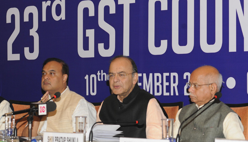 Arun Jaitley addressing a press conference after the 23rd GST Council meeting,