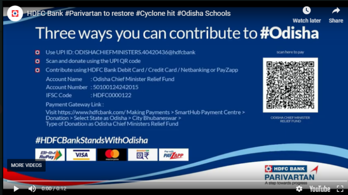 HDFC Bank #Parivartan to restore cyclone-hit Odisha schools