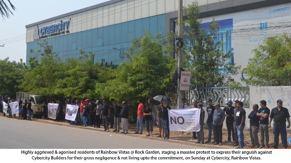 Residents of Rainbow Vistas @ Rock Garden, stage a massive protest against Cybercity Builders, for gross negligence!