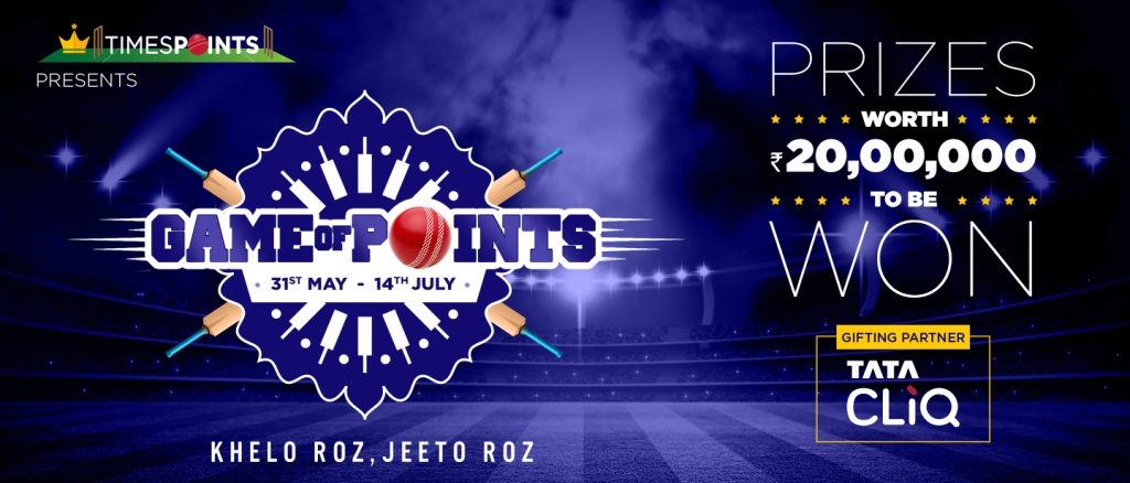 TimesPoints and Tata Cliq join hands for #GameOfPoints to cheer with Indian Cricket Fans during largest Cricketing event #WorldCup2019