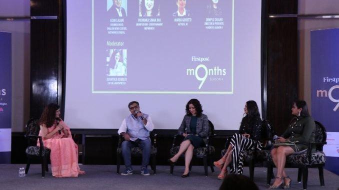 Avantika (Editor, Momspresso), Azim (Business Head, English News Cluster, Network18), Priyanka (Chief Editor, Entertainment, Network18), Maria (Host), Dimple (Director)