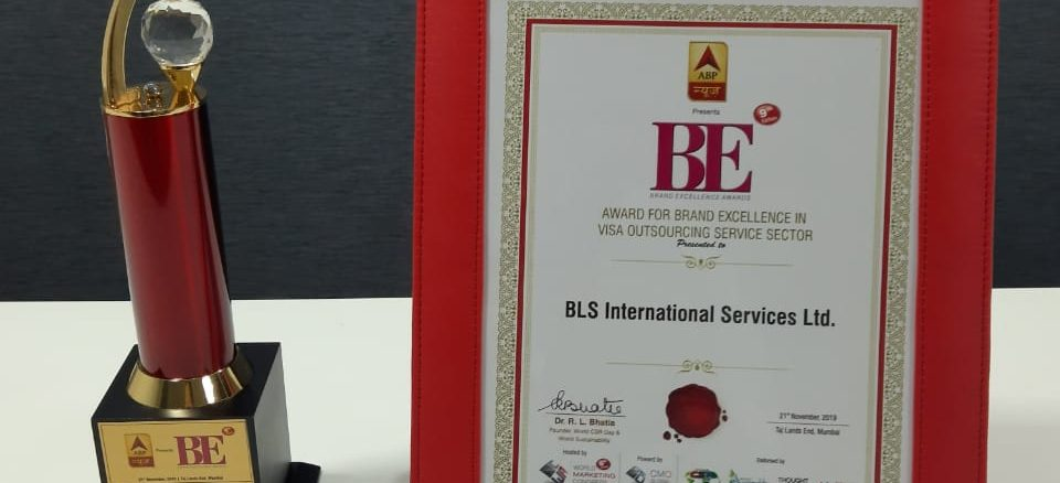 """BLS International honoured with """"Brand Excellence Award in the Visa Outsourcing Service Sector"""""""