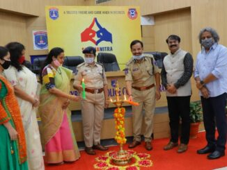 Krishna Yedula, VC Sajjanar, C.Anasuya, Pratyusha Sharma & Krishna Priya lighting lamp launch of Sangamitra a Initiative by SCSC & Cyberabad Police