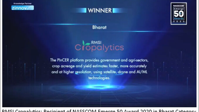 RMSI Cropalytics_ NASSCOM Emerge50 Awards 2020