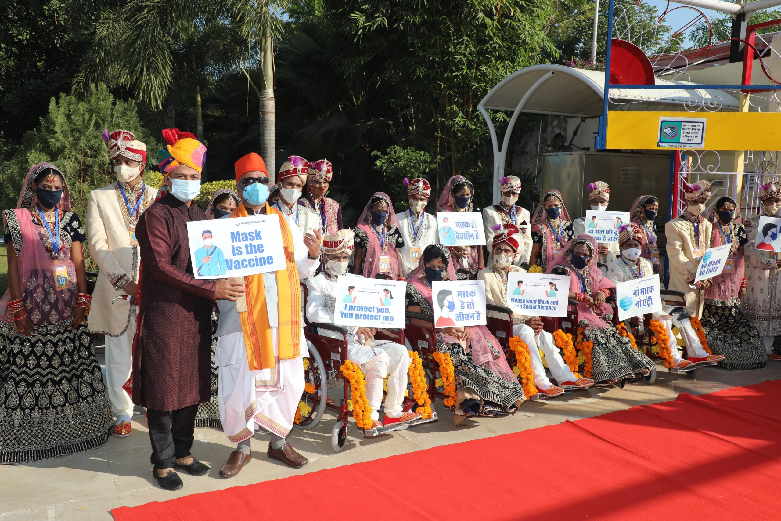 11 differently abled and underprivileged couples tie knots, vowing to wear masks at the 35th mass wedding ceremony