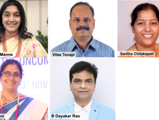 Usharanimanne, Vilas Tanopi, Saritha Chilakapati, Radha Rani, B Dayakar Rao at a virtual interactive session on Business Opportunities in Millets for women entrepreneurs