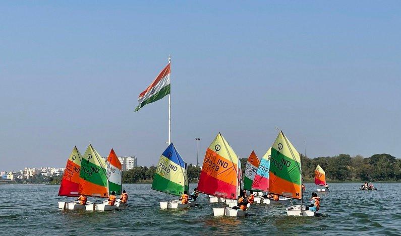 Young Sailors of the Yacht Club of Hyderabad at Hussain Sagar sailing the Republic Day Regatta 2021