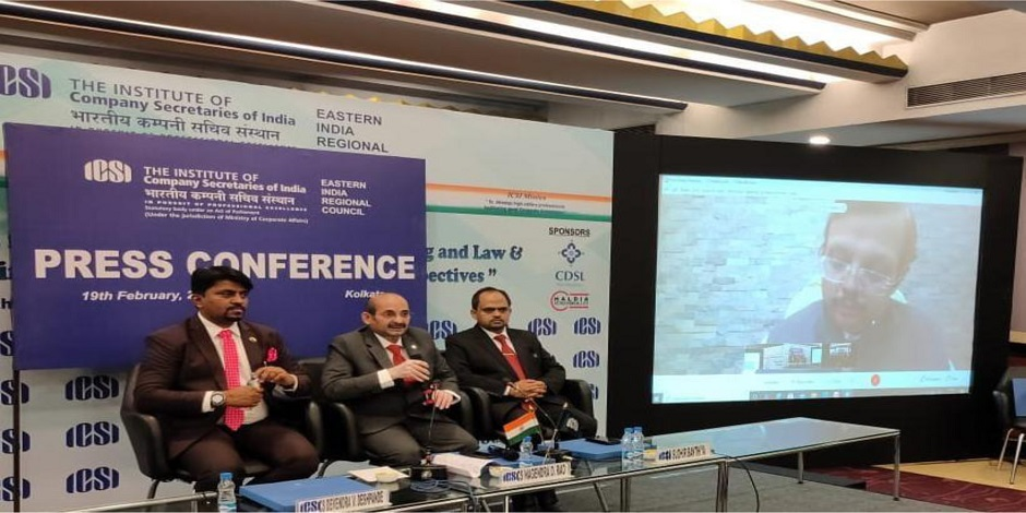 L to R - CS Devendra Deshpande,VP, ICSI,CS Nagendra D Rao, President,ICSI,CS Sudhir Kr Banthiya, Chairman,EIRC of ICSI and CS Deepak Kr Khaitan, Council Member,ICSI