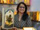 Artpreneur Meghana seen showing Hand Crafted Table Lamps that promote the age old art form and enhances the value of the art form