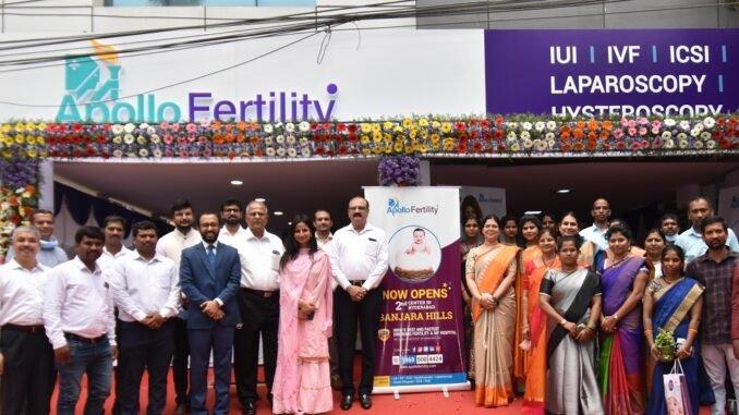 Mr. Chandra Sekhar C., Group CEO, Apollo Health and Lifestyle Ltd. & Dr Sunitha Ilinani, (centre) Chief IVF Consultant, Apollo Fertility; with the staff at the launch of the World-class infertility facility - Apollo Fertility, on Road No. 3, Banjara Hills, today.
