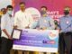 Vasi Reddy Anirudh, who got package of Rs 15 lakh seen being felicitated by Jayesh Ranjan